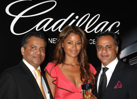 Beauty Contact and the developer of Cadillac Fragrance, Alwyn Stephen, Claudia Jordan, and N. Amer. Marketing rep Sanjay Bawa