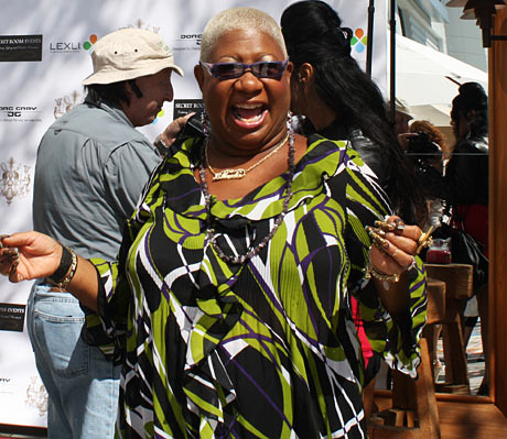 Luenell from Borat is living it up at the 'Think Pink' event.
