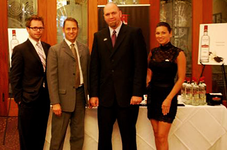 From left: Chris Miller, Beverage Director and Sommelier, Spago Beverly Hills, Timo Sutinen, Vice President of Marketing & Business Development, Imperial Brands, Inc., Shawn Barker, Master Mixologist, Wolfgang Puck Fine Dining Group, Carolina Marino, Sales & Marketing Coordinator, Imperial Brands, Inc.