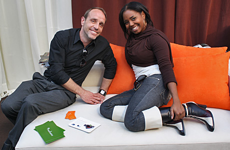 Mike Embury of Modern Studio Furnishings with Celebrity Fit Club's Shar Jackson.