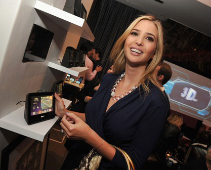 Ivanka Trump taps away at SONY Dash touch-screen.