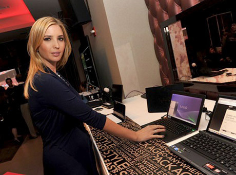 Ivanka Trump checks out her very own Ivanka Trump Jewelry website on the SONY VAIO.