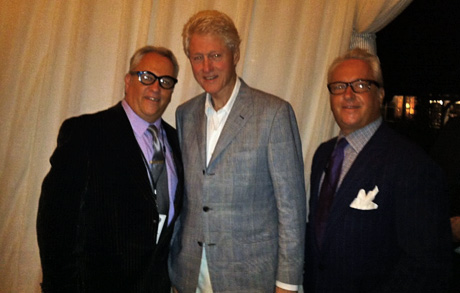 Matt and Mark Harris with Bill Clinton at Barbra Steisand's Follow Your Heart Charity event