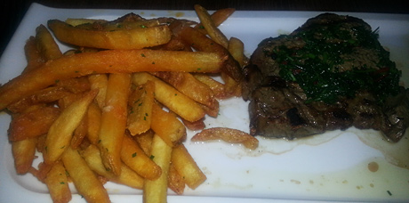 Steak Frites - We split this, so the regular cut is twice the size. Very delicious.