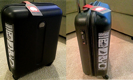 Delsey Luggage; this was gifted, so lightweight, durable and easy to pull around!