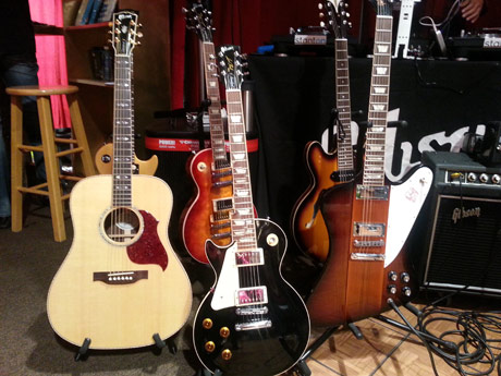 Many great styles of Gibson guitar on display.