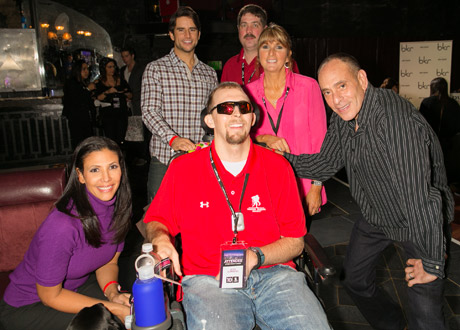 Actress Wendy Davis, TV star Justin Bird, Michael Hopkins, Lisa Hopkins, Wounded Warrior Josh Sommers and actor Nestor Serrano - Andy Halbeck