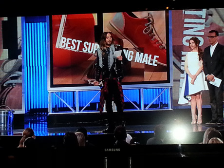 Celebs were able to watch the show while they were swagging backstage; here Jared Leto announced the winner for Best Supporting Male. He won the next night at the Oscars!