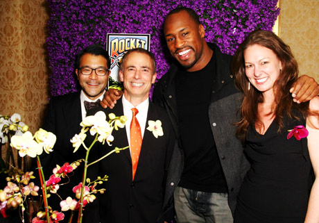 The folks from Rocket Farms with Vernon Davis, 49er's NFL star