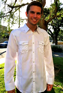 LA's The Place writer Tyler Emery rocks his Roar embroidered  shirt.