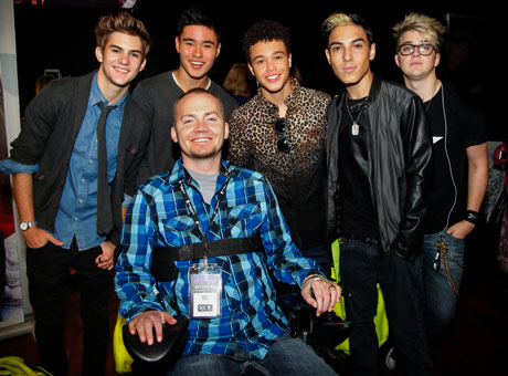 Boy Band IM5 with Wounded Warrior Matthew keil