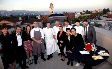 Lauren McEwen, Public Relations Manager, Montage Beverly Hills; George Nickels, Director of Catering and Conference Services, Montage Beverly Hills; Karissa Fowler, Communications Manager, Beverly Hills Conference & Visitors Bureau; Brandon Weaver, Chef de Cuisine of The Roof Garden, The Peninsula Beverly Hills; Gabriel Ask, Executive Chef Montage Beverly Hills; Chris O'Connell, Executive Banquet Chef, The Beverly Hilton; Irine Spivak, PR & Marketing Manager, The Beverly Hilton; Thomas Henzi, Executive Pastry Chef, The Beverly Hilton; bloggers of My Belonging Tommy Lei and Martin Angulo; Andrew Adams, Culinary, L'Ermitage Beverly Hills and Nicholas Rimedio, Director of Food & Beverage, L'Ermitage Beverly Hills.