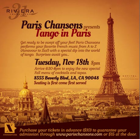 "Paris Chansons presents ""Tango in Paris"""