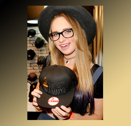 Courtney Schmidt with the one of a kind New Era Grammy cap.
