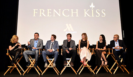 "(L-R) Gail Becker, David Beebe, Vice President of Creative and Content Marketing at Marriott International, actor Tyler Ritter, writer/director John Gray, actress Margot Luciarte, Executive Producers Kim Moses and Ian Sander speak onstage during the The Marriott Content Studios ""French Kiss"" film premiere at the Marina del Rey Marriott"
