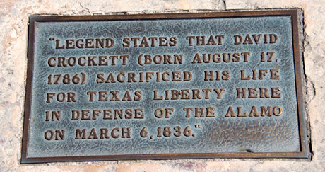Marker of Crockett's death.