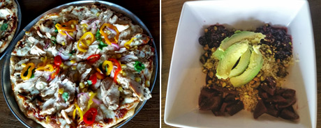 BBQ Chicken Pizza and Quinoa Beet Salad at the Slip Bar