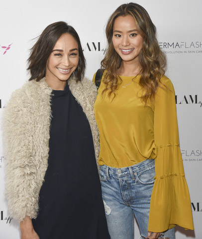 Jamie Chung stopped by with her dog, Ewok, to show her support for her good friend, Cara.