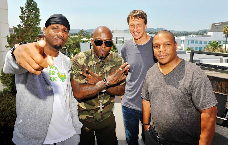 Tony Hawk with musical artists Naughty by Nature.