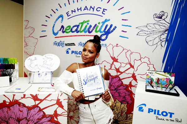 GBK 2017 Teen Choice Awards Gifting Suite co-sponsors Pilot Pen, with Christina Milian.