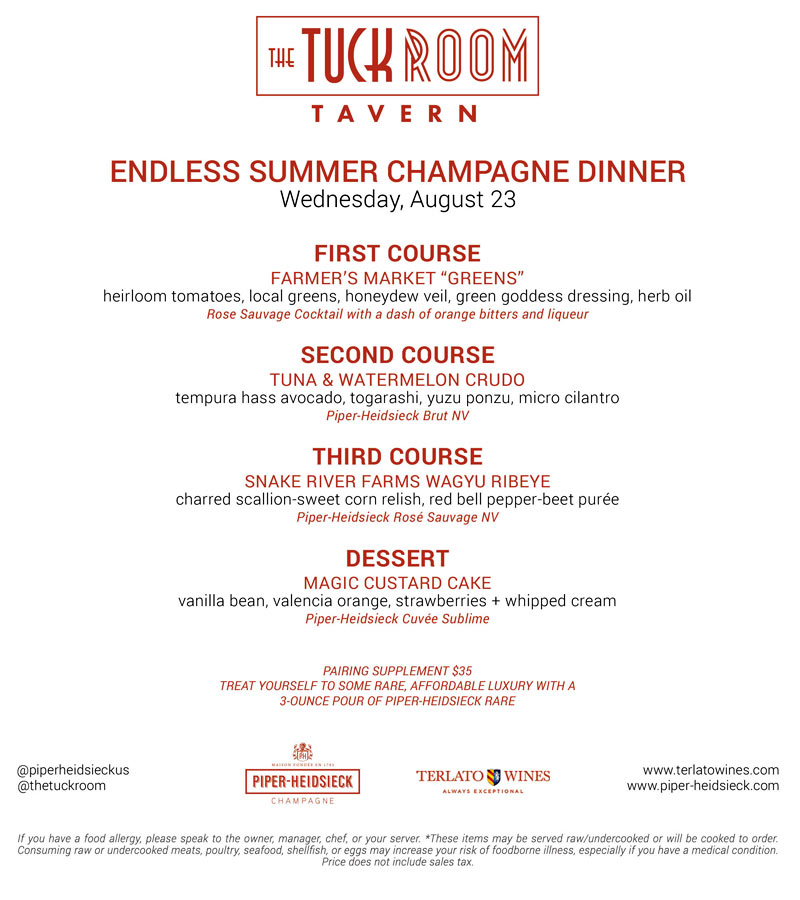 The 2nd Annual Champagne Dinner at Chef Sherry Yard's Tuck Room Tavern