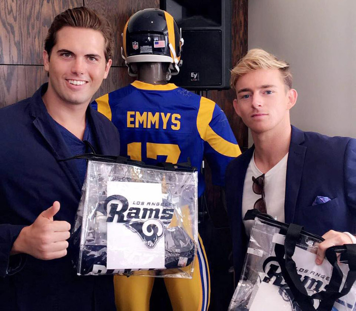 Tyler Emery and Andy Macedo with the LA Rams at the Secret Room gift lounge in celebration of the 2017 EMMYS