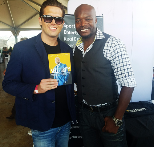 "Tyler Emery with ""Sellebrity"" author Kofi Nartey"