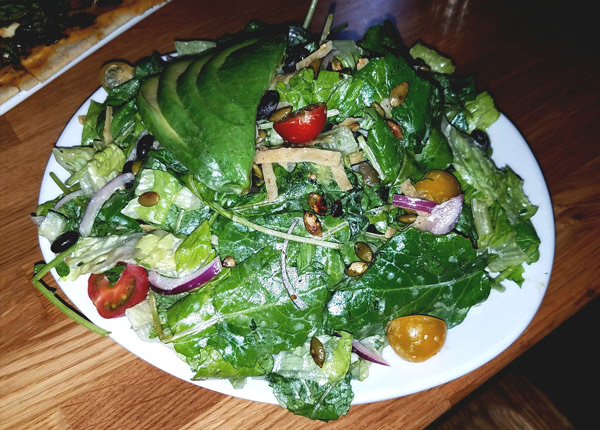Cali Salad 100% local greens, grilled corn, avocado, wheat berry, tomatoes, cucumber, with cilantro vinaigrette