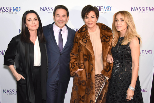 Kyle Richards, Dr. Paul Nassif, Kris Jenner and Faye Resnick attend the grand opening of NassifMD's Medical Spa in Beverly Hills on Wednesday, March 7th