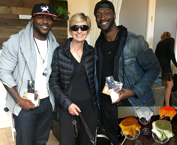Edwin Hodge (left) and Aldis Hodge with Kelly Egan, Founder, wine VEIL