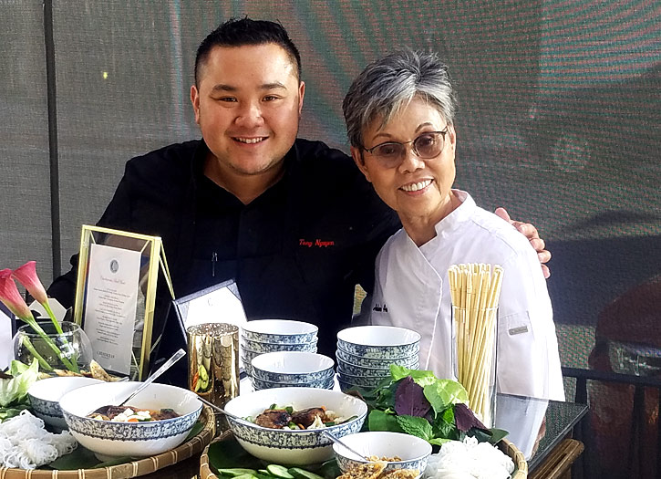 """Crustacean Beverly Hills' Chef Helene """"Mama"""" An and Chef Tony Nguyen"""
