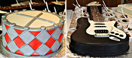 Beautifully crafted drum and guitar cakes from Hansen Cakes.