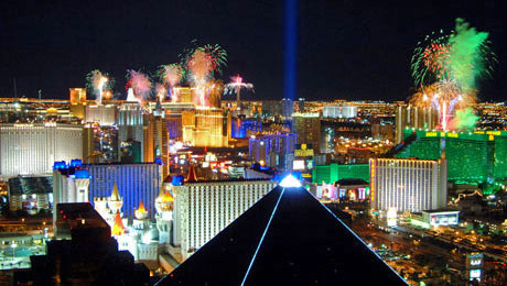 Las Vegas Strip Fireworks on New Years Eve