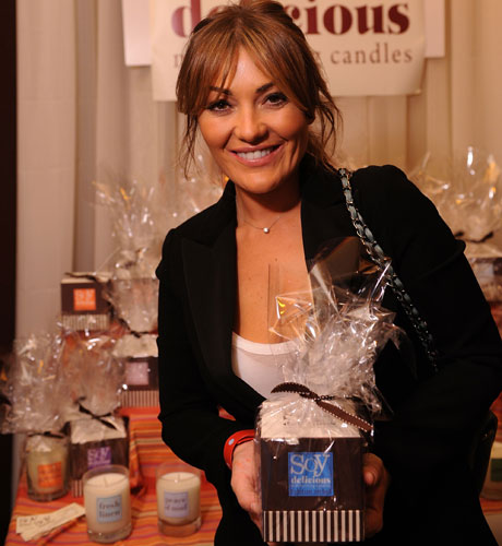 Amaia Montero with her Soy Delicious gifts.