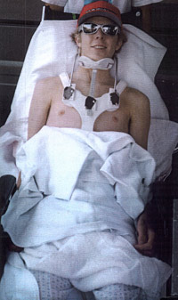 Aaron Baker after accident.