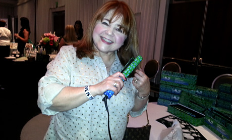 Actress Patrika Darbo (Days of Our Lives) with Peacock Flat Iron