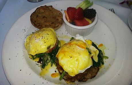 Eggs Manhattan with Crab Cakes at Zinc Restaurant