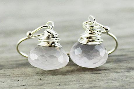 Light Rose Earrings, Quartz Gemstone Earrings, Baby Pink Earrings, Sterling… Candy Kiss Collection Gemstone Earrings gifted by Starletta Designs.