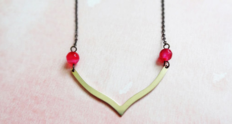 Pink villa brass v necklace - genuine pink agate, brass - minimal jewelry - simple - geometric -  fuchsia
