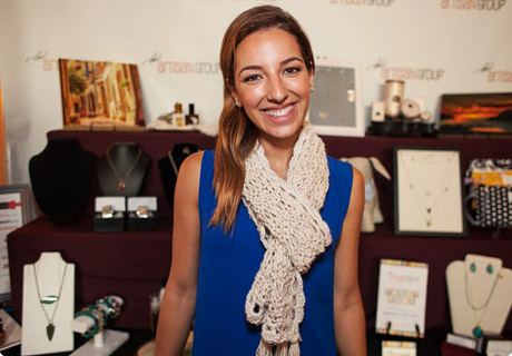 Vanessa Lengies of Glee with an Andrea Designs crocheted scarf.