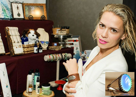 Bethany Joy Lenz of One Tree Hill with HorseFeathers Gifts.