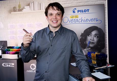 Actor Eric Millegan with Pilot Pen