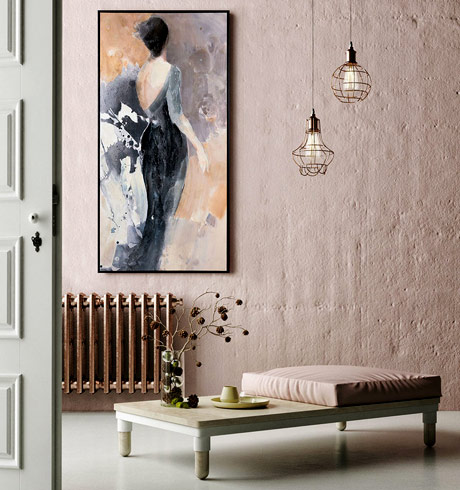 """Opening Night I: Elegantly hand embellished, this pretty print is the height of fashion as it depicts a woman dressed up for """"Opening Night."""" Officially licensed by Wild Apple Licensing"""