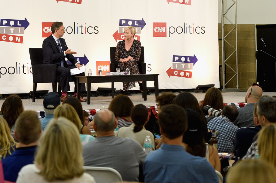 Jake Tapper (L) and Chelsea Handler at the 'CNN: Politics on Tap: Special Edition' panel during Politicon at Pasadena Convention Center on July 29, 2017 in Pasadena, California. (Photo by Joshua Blanchard/Getty Images for Politicon)