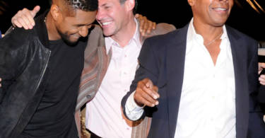 GBK's Gavin Keilly with Usher and Sugar Ray Leonard