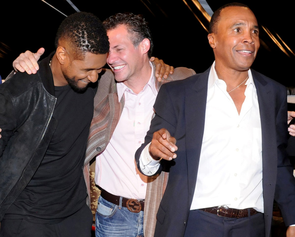 GBK's Gavin Keilly with Usher and Sugar Ray Leonard