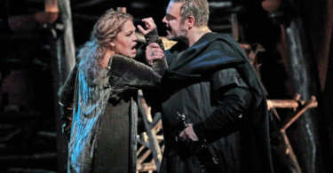 "Sondra Radvanovsky in the title role and Joseph Calleja as Pollione in Bellini's ""Norma."" Photo: Ken Howard/Metropolitan Opera"