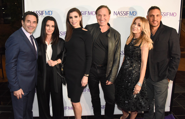 Dr. Paul Nassif, Kyle Richards, Heather Dubrow, Dr. Terry Dubrow, Faye Resnick, and Mauricio Umansky attend the grand opening of NassifMD's Medical Spa in Beverly Hills