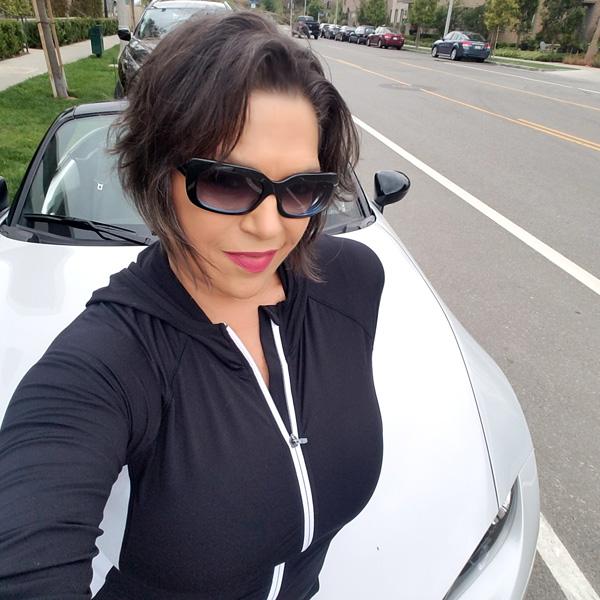 Jane Emery with the 2018 Mazda Miata Club