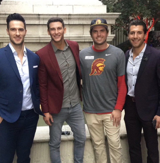 Bachelor alumni Daniel Maguire, Blake Horstmann, LATP writer Tyler Emery and Jason Tartick attended to support their fellow bachelor Jordan.